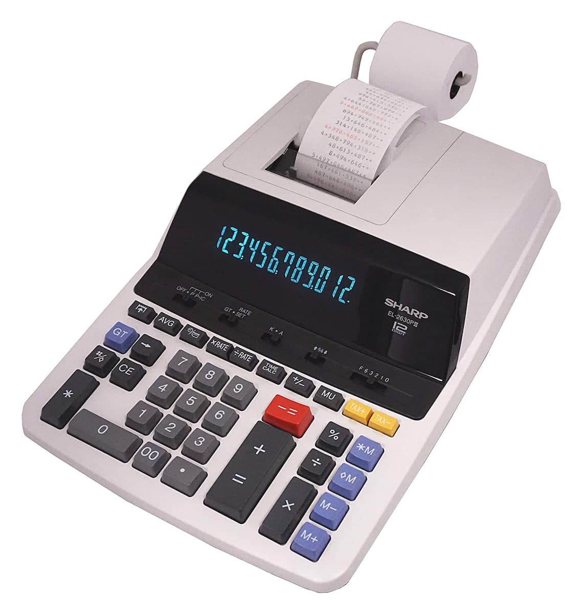 A physical calculator manufactured by Sharp, with a roll of thin paper attached to the back. One end of the paper roll goes into the top of the machine and comes out with a series of numbers and signs printed on it.