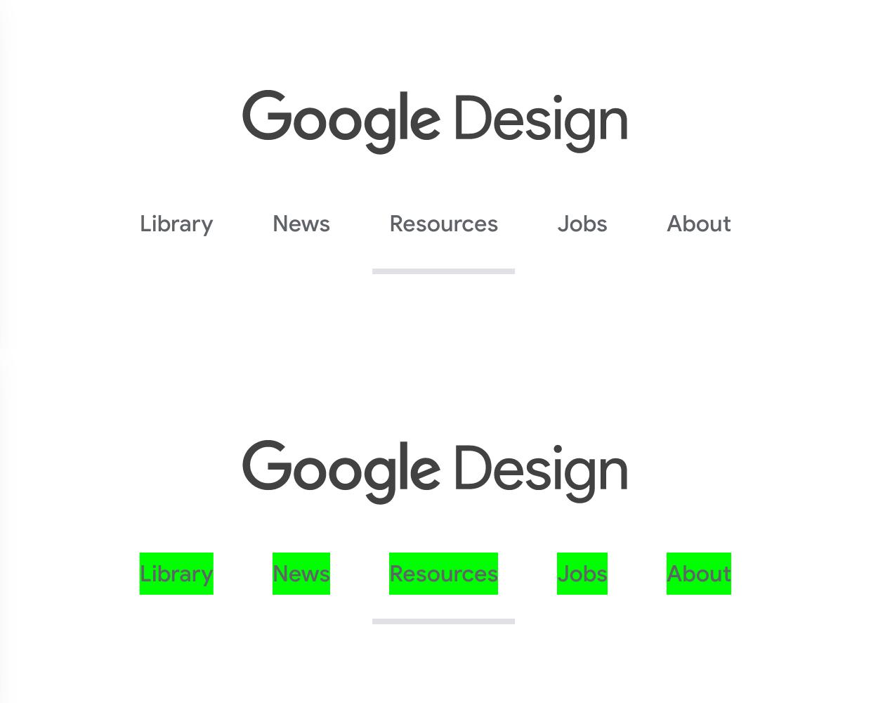 Capture d'écran de la navigation principale sur le site de Google Design