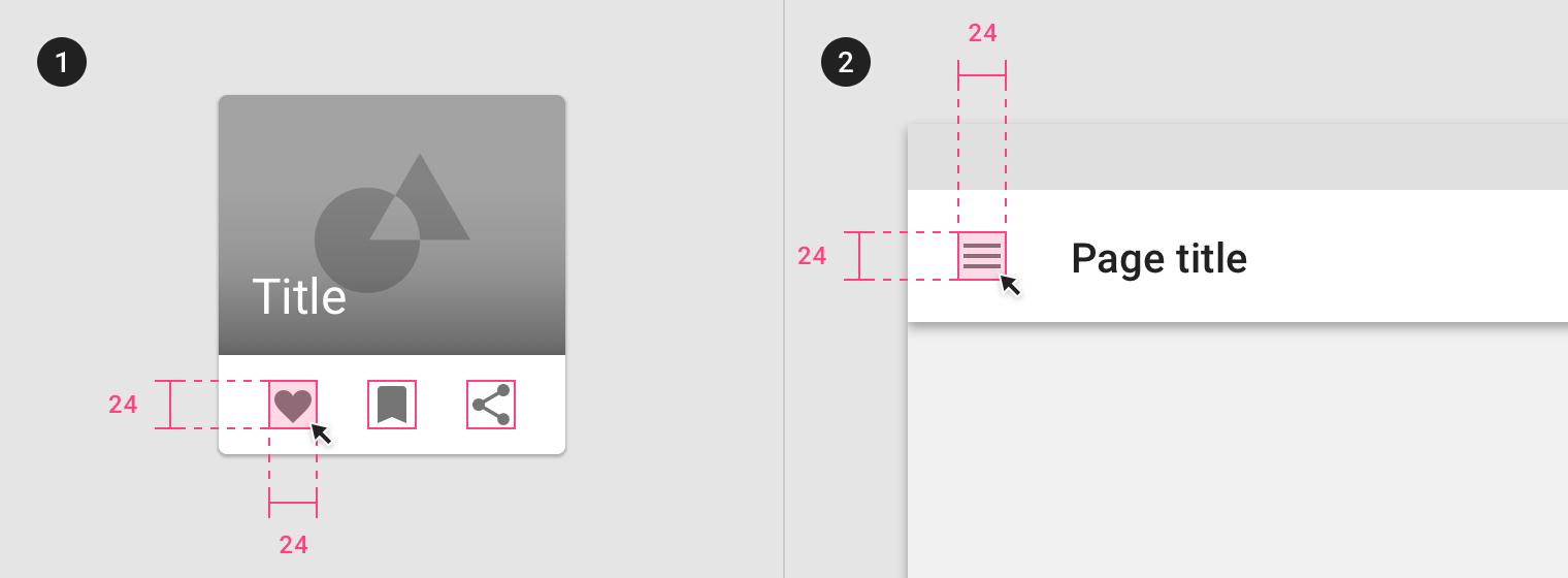 Schéma représentant deux designs comportant des icones d'environ 20 pixels de côté, avec dessiné en surimpression une zone cliquable de 24 pixels de côté.