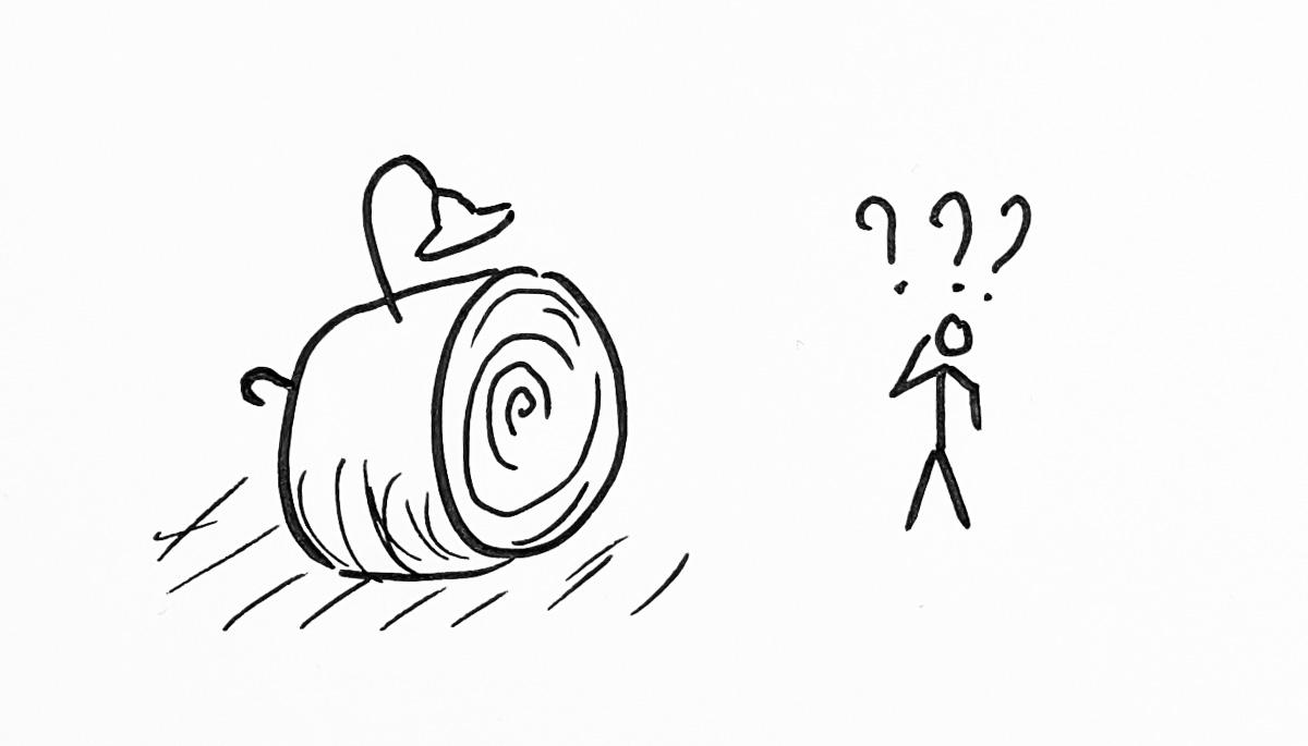 Fig. 4 Meule de foin dont dépassent une lampe et un parapluie.