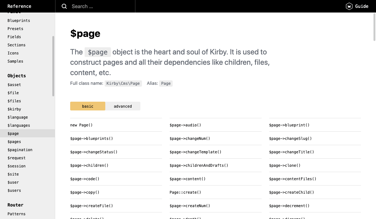 Screenshot of the Kirby Reference page for the $page object