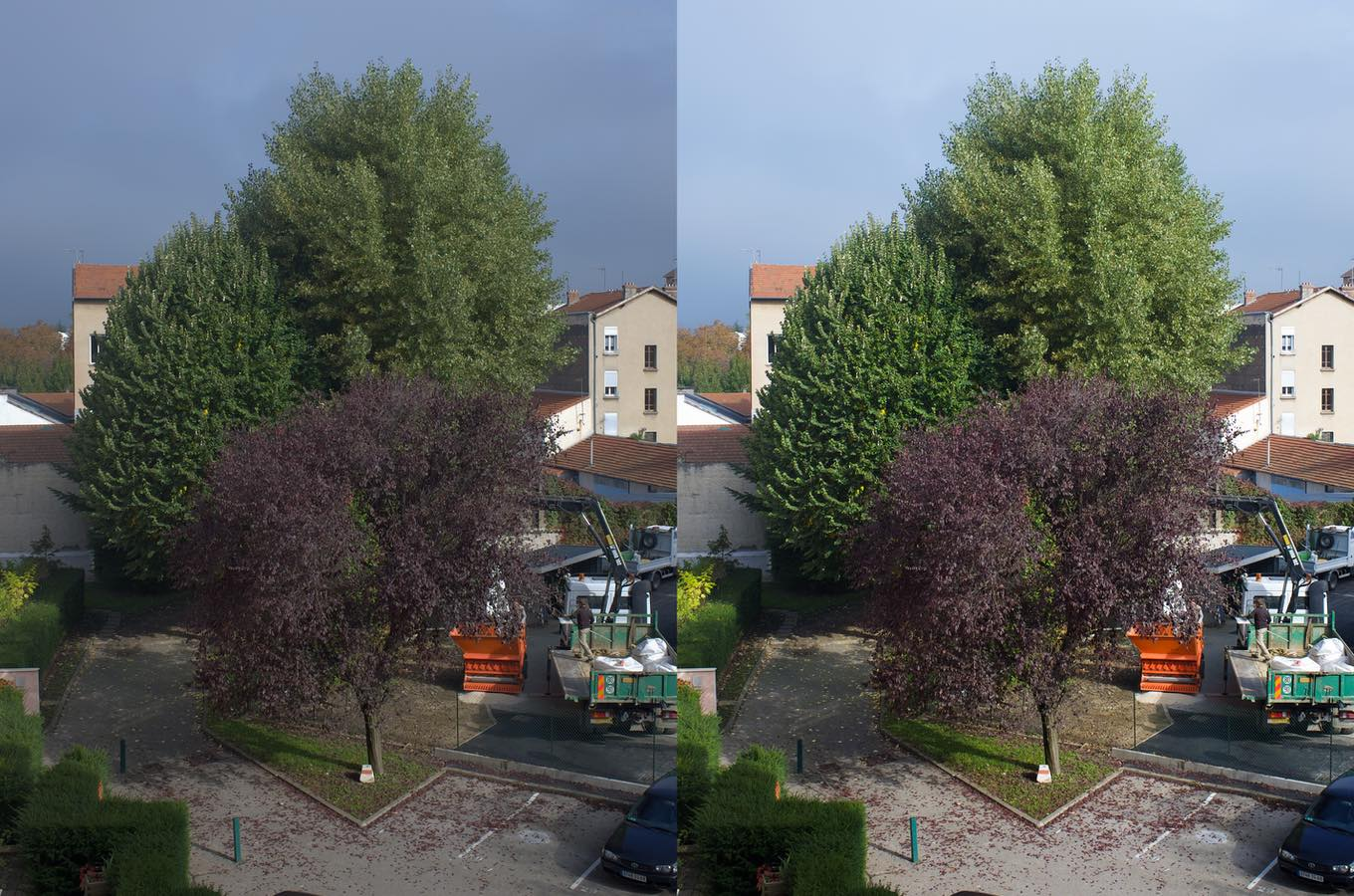 A side-by-side comparison of the same image with two different development settings. Left one looks a bit gray and lacks contrast. Right one is more colorful and contrasted.