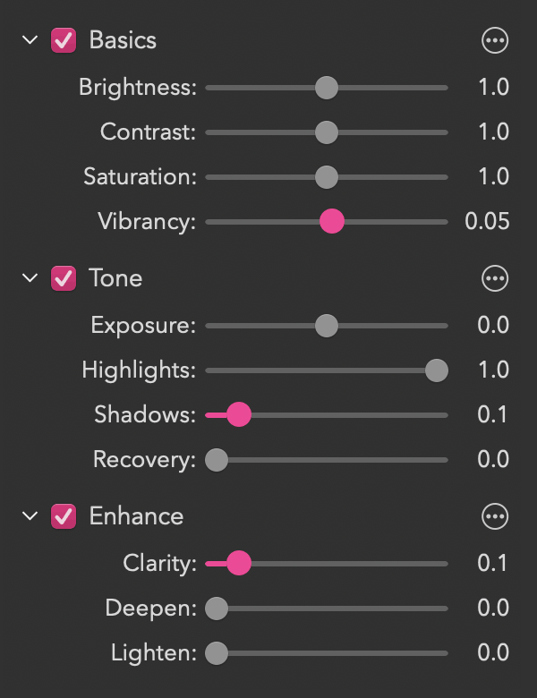 The Basics, Tone and Enhance controls