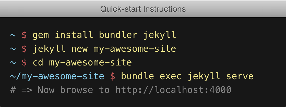 A series of 4 terminal commands, starting with: gem install bundler jekyll…