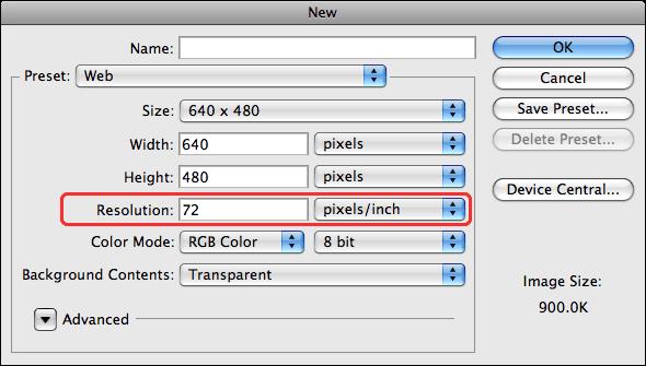 Dialogue de création de fichier dans Photoshop. Par défaut, la résolution pour les formats «web» est 72 ppi.