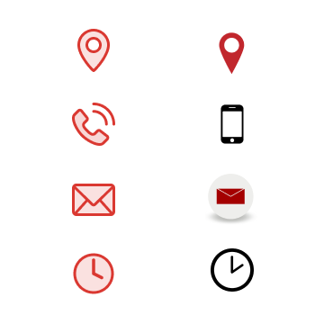 Quatre icones dessinées dans le même style à partir d'exemples disparates